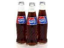 Classic Pepsi glass bottles isolated on white background stock photos