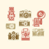 Classic photo camera icons Stock Photos