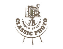 Classic photo camera logo - vector illustration. Vintage emblem Royalty Free Stock Photos