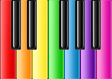 Classic Piano With Rainbow Keys Royalty Free Stock Images