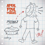 Classic Pieing Prank for April Fools' Day, Vector Illustration. Traditional pieing jape for April Fools' Day with a creamy pie in the face of a innocent pranked Stock Image