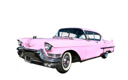 Classic pink car at beach. On white background Stock Photo