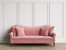 Classic pink sofa in classic interior with copy space royalty free illustration