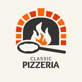 Classic Pizzeria logotype. Classic Pizzeria. Firewood oven with shovel, vector Vector seamless background - skeletons of leaves Royalty Free Stock Image
