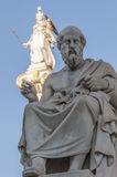 Classic Plato statue. Classic statues Plato and Athena Stock Photo