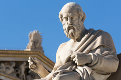 Classic Plato statue. Classic statues Plato sitting under blue sky Royalty Free Stock Photo