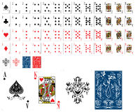 Classic Playing Cards. Hearts, Diamonds, Spades and Clubs Stock Photos