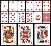 Classic Playing Cards - Hearts. Classic playing cards (you can find the full deck in my portfolio) isolated on black background: hearts suit with joker and back Stock Images