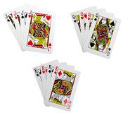 Classic playing cards - quads. For poker over white Stock Image