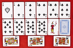 Classic Playing Cards - Spades. Classic playing cards isolated on royal red background: spades suit with joker and back Stock Images