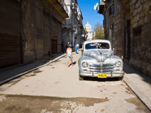 Classic Plymouth parked on Old Havana Stock Photography