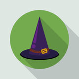 Classic Pointy Witch Flat Hat, Vector Illustration Stock Photography