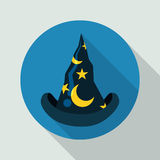Classic Pointy Wizard Flat Hat, Vector Illustration. Classic pointy blue wizard flat Hat with long shadow Stock Image