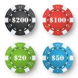 Classic Poker Chips Vector. Colored Poker Game Chips On White Background. Illustration. stock illustration