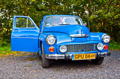 Classic Polish car Warszawa 223 at a car show. Vintage blue classic Polish car Warszawa 223 with open right door at a car show in Gdansk Oliwa in northern Poland Stock Images