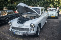 Classic Polish car Warszawa. 223 with open hood parked at a car show in Gdansk, northern Poland Royalty Free Stock Photography