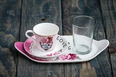 Classic Porcelain Turkish Coffee Cup with Tray and Glass royalty free stock photos