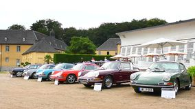 Classic Porsche 911 and Porsche 912 sports cars stock video footage