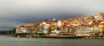 Classic Porto panoramic Douro river view stock image