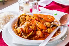 Classic portuguese sea food cataplana in Albufeira, Portugal. royalty free stock photo