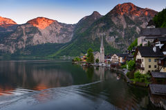 Classic postcard view of famous Hallstatt lakeside town in the Alps on a beautiful sunny day in the summer, Salzkammergut region, Royalty Free Stock Photos