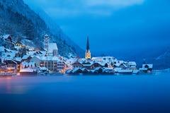 Hallstatt in mystic twilight in winter, Salzkammergut, Austria stock image