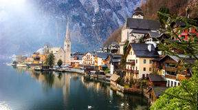 Classic postcard view of Hallstatt alpine village on Hallstatt Lake Stock Images