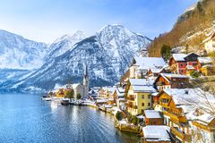 Free Classic Postcard View Of Famous Hallstatt Lakeside Town In The Alps With Traditional Passenger Ship On A Beautiful Cold Sunny Day Royalty Free Stock Image - 164069186