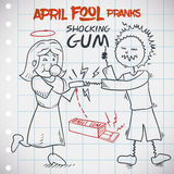 Classic Prank of Shocking Gum for April Fools' Day, Vector Illustration. Man being pranked by his girlfriend in April Fools' Day with classic shocking gum jape Stock Photography