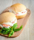 Classic prawn rolls on the wooden board Royalty Free Stock Photography