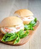 Classic prawn rolls on the wooden board Royalty Free Stock Photos