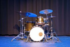 Classic professional basic drum kit set on a stage Royalty Free Stock Image
