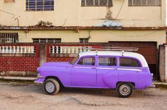 Classic Purple and White Car in Cuba stock image