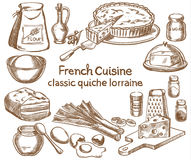 Classic quiche Lorraine ingredients Stock Photo