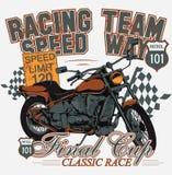 Classic race. Moto race illustration emblem Stock Images