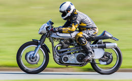 Classic racing motorbike. On racetrack Stock Image