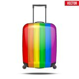 Classic rainbow plastic luggage suitcase for air Royalty Free Stock Photos