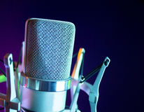 Classic recording studio microphone. Microphone in sound recording studio Royalty Free Stock Photography