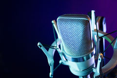 Classic recording studio microphone. Microphone in sound recording studio Royalty Free Stock Images