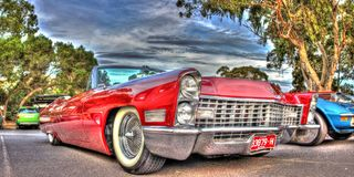 Classic red American Cadillac Stock Images