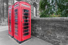 Classic red British telephone box, B&W background Stock Images