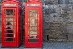 Classic red British telephone box Stock Photos