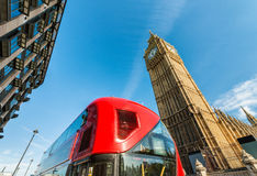Classic red bus in London with Big Ben on background Royalty Free Stock Photo