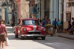 Classic Red Car Havana Streets Cuba Royalty Free Stock Photography