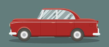 Classic red car. Old classic brandless automobile side view. Cartoon style vector illustration stock illustration
