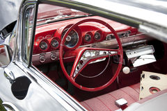 Classic Red Car Steering Wheel. And Dashboard Stock Photos