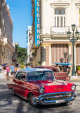 Classic red chevrolet in downtown Havana Stock Images