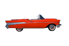 Classic red convertible. Classic, large, American red convertible streetrod on white Stock Photo