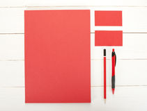 Classic red corporate identity template design. Business station Stock Image