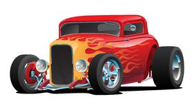 Free Classic Red Custom Street Rod Car With Hotrod Flames And Chrome Rims Isolated Vector Illustration Royalty Free Stock Image - 185199606